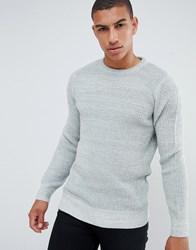 New Look Textured Knit Jumper In Grey Sterling Silver