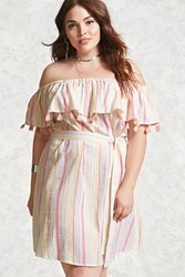 Forever 21 Plus Size Off The Shoulder Dress Pink Green