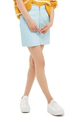 Topshop Women's Zip Faux Leather Miniskirt Light Blue