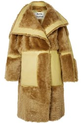 Acne Studios Luelle Oversized Paneled Shearling And Leather Coat Tan