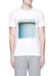 Theory 'Gaskell N' Square Print Cotton T Shirt White