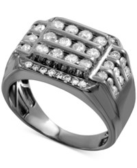 Macy's Men's Gray Diamond Horizontal Cluster Ring 1 1 2 Ct. T.W. In Sterling Silver With Gray Rhodium Plating Gunmetal