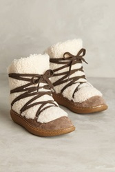 All Black Tied Shearling Booties Taupe