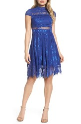 Foxiedox 'S Bravo Zulu Lace Fit And Flare Dress Cobalt