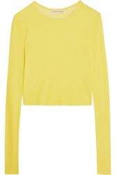 Alice Olivia Eamon Ribbed Knit Top Bright Yellow