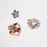 River Island Womens Rose Gold And Silver Tone Flower Badges