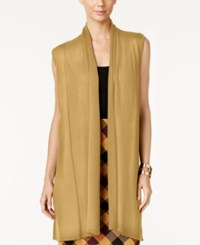 Joseph A Shawl Collar Duster Sweater Vest Tan