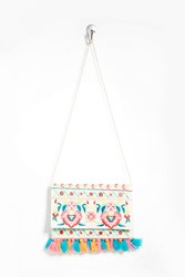 Forever 21 Charade Tasseled Clutch Natural Multi