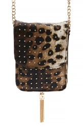 Amici Accessories Leopard Print Faux Leather Phone Crossbody Bag Brown
