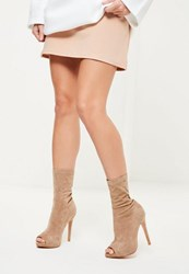 Missguided Nude Faux Suede Peep Toe Platform Boots