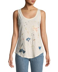 Chelsea And Theodore Floral Embroidered Slub Knit Tank Beige