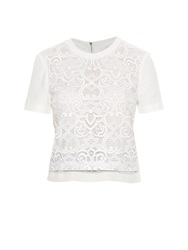 A.L.C. Indian Embroidered Lace Silk Top