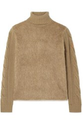 Max Mara Formia Paneled Wool Blend And Knitted Turtleneck Sweater Camel