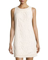 Label By 5Twelve Sleeveless Beaded Neck Lace Shift Dress Ivory