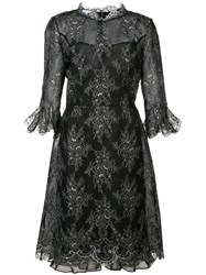 Oscar De La Renta Cropped Trumpet Sleeve Lace Dress Women Silk Nylon Polyester 6 Black