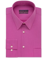 Geoffrey Beene Non Iron Bedford Cord Solid Dress Shirt Magenta