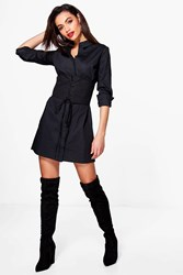 Boohoo Alicia Lace Up Corset Front Shirt Dress Black