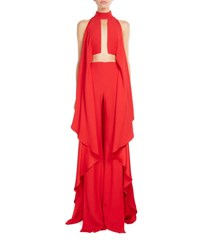 Balmain Mock Neck Cascading Ruffle Jumpsuit Red
