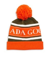 Canada Goose Merino Wool Logo Printed Pom Hat Orange Grey