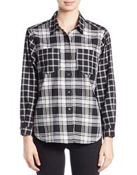 French Connection Button Down Check Shirt Black