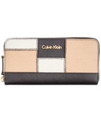 Calvin Klein Saffiano Zip Around Wallet Black White Nude Patchwork