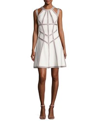 Herve Leger Honeycomb Jacquard Fit And Flare Dress White White Pattern