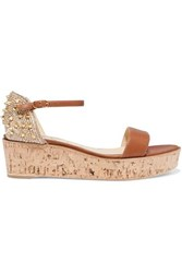 8ab6df5b1f Christian Louboutin Bellamonica 60 Spiked Leather Espadrille Wedge Sandals  Tan