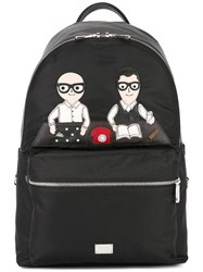 Dolce And Gabbana Volcano Designer's Patch Backpack Black