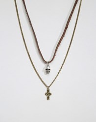 Icon Brand Skull And Cross Necklace Pack Silver