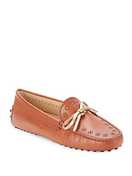 Tod's Moc Toe Slip On Leather Loafers Brown