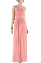Women's Alfred Sung Shirred Chiffon V Neck Gown Apricot