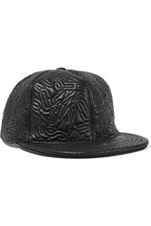 Moschino Leather Cloque Baseball Cap Black