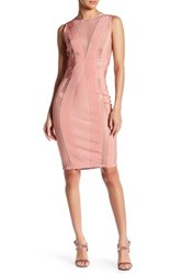Wow Couture Mesh Contrast Bodycon Dress Pink