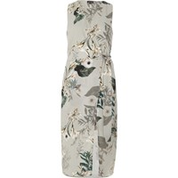 River Island Womens Grey Floral Tie Waist Wrap Midi Dress