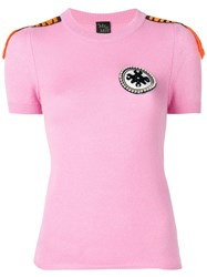 Mr And Mrs Italy Embellished Cashmere T Shirt Pink