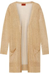 Missoni Metallic Crochet Knit Cardigan Gold Metallic