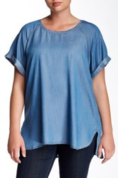 Want And Need Short Sleeve Chambray Shirt Plus Size Blue