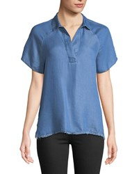 Chelsea And Theodore Split Neck High Low Chambray Blouse Blue