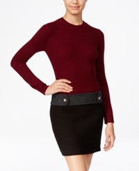 Amy Byer Bcx Juniors' Colorblocked Cable Knit Drop Waist Sweater Dress Bordeaux