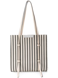 Sergio Rossi Striped Tote Nude And Neutrals