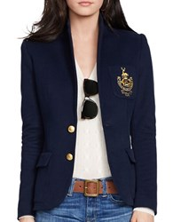 Polo Ralph Lauren Custom Fit Two Button Fleece Blazer Aviator Navy