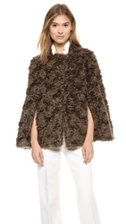 Derek Lam Mohair Faux Fur Cape Grey