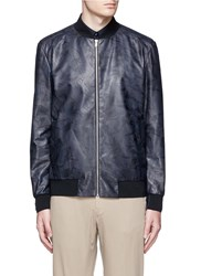 Theory 'Brant L' Shatter Print Leather Bomber Jacket Blue