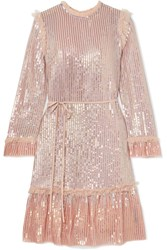 Needle And Thread Tulle Trimmed Sequined Chiffon Dress Blush