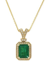 Effy Collection Brasilica By Effy Emerald 2 1 5 Ct. T.W. And Diamond 1 5 Ct. T.W. Pendant Necklace In 14K Gold Green