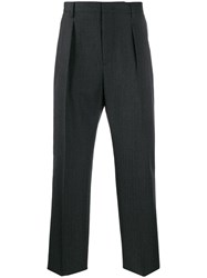 Valentino Straight Leg Tailored Trousers Grey