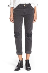 Current Elliott 'The Fling' Leather Patch Boyfriend Jeans Black