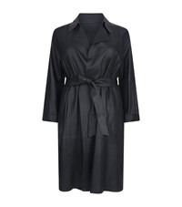 Marina Rinaldi Leather Belted Trench Coat Black