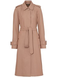 Burberry Tropical Gabardine Belted Car Coat Pink