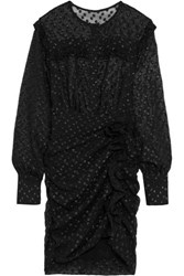 Isabel Marant Adriana Ruffled Polka Dot Fil Coupe Mini Dress Black